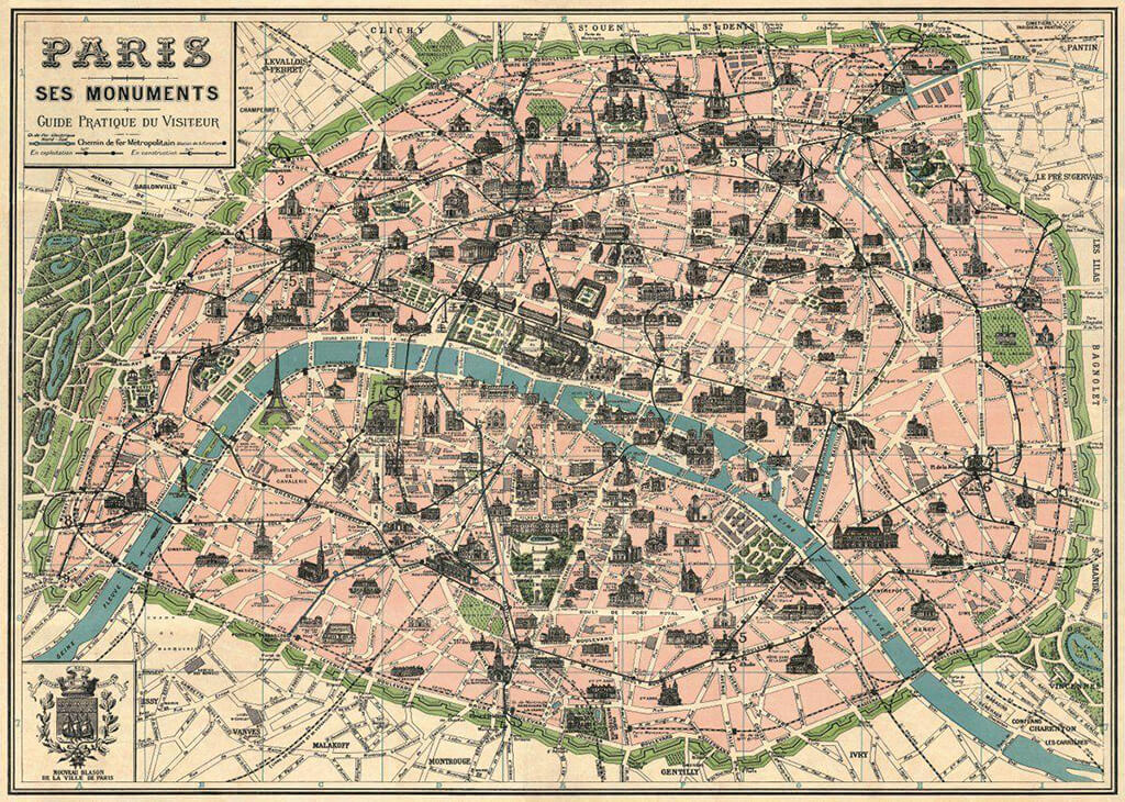 mapa de Paris, mostrando que passava um rio naquela cidade