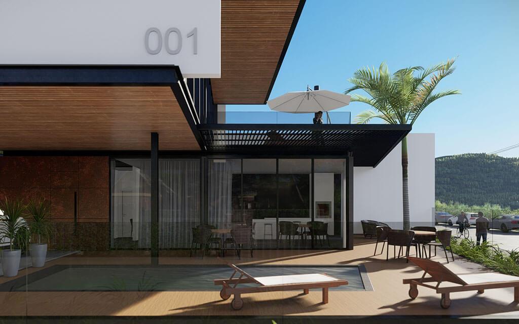 Projeto em render da área externa de uma das casas de praia