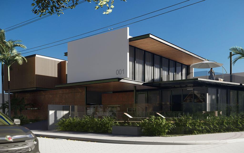 Projeto em render com vista da parte frontal das duas casas de praia