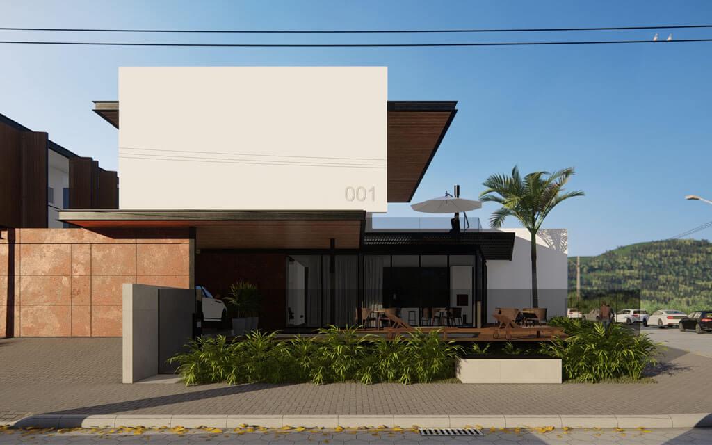 Projeto em render de uma das casas de praia, com predomínio de vegetação e aço corten