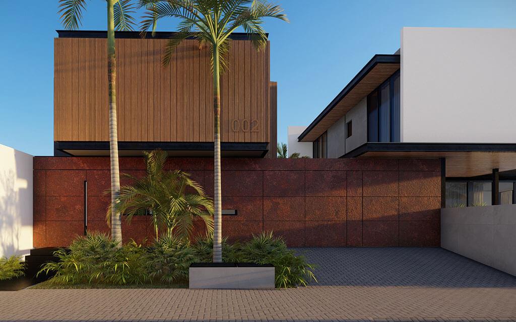 Projeto em render da segunda casa de praia, com predomínio da madeira e do aço corten