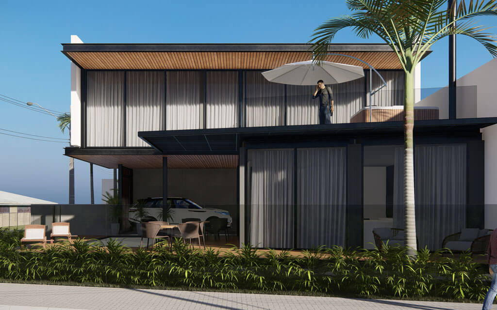 Visão do projeto em render, que mostra a sacada de uma das casas