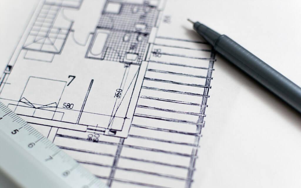 Planta arquitetônica com especificações